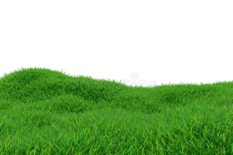Green grass growing on hills with white background top view. 3d rendering stock illustration