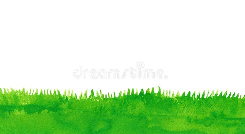 Green Grass, Hand Painted Airbrush Painting. This hand drawn airbrush painting shows green grass. The illustration has copy space stock illustration