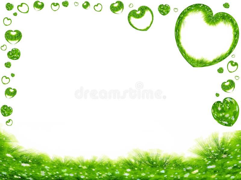 Green grass and hearts border stock illustration