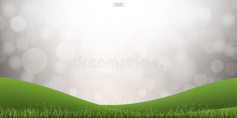 Green grass hill and light blurred bokeh background. Vector. Green grass hill with light blurred bokeh background. Vector illustration stock illustration