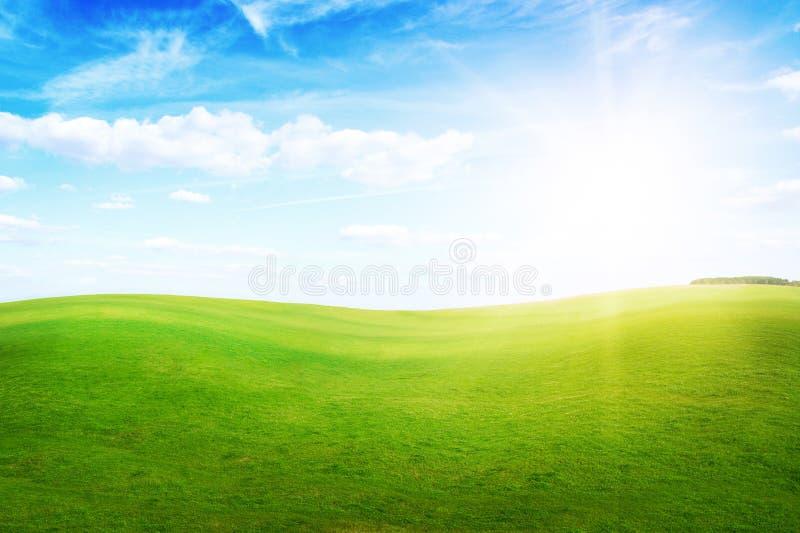 Green grass hills under midday sun in blue sky. stock photos