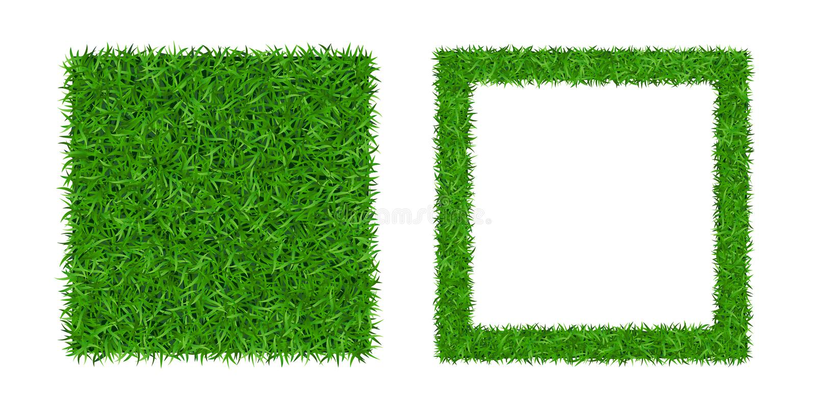 Green grass isolated background 3D set. Lawn greenery nature frame. Abstract soccer field texture square border. Ground vector illustration