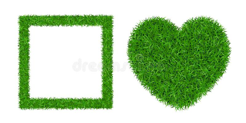 Green grass isolated background 3D set. Lawn greenery nature heart. Grass frame square. Ecology garden, heart-shape. Grassy decorative design meadow texture royalty free illustration