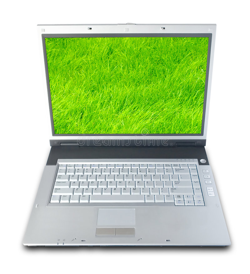 Green Grass Laptop royalty free stock photography