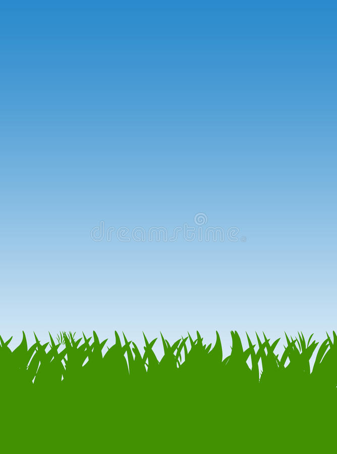 Green Grass lawn. And blue sky background vector illustration