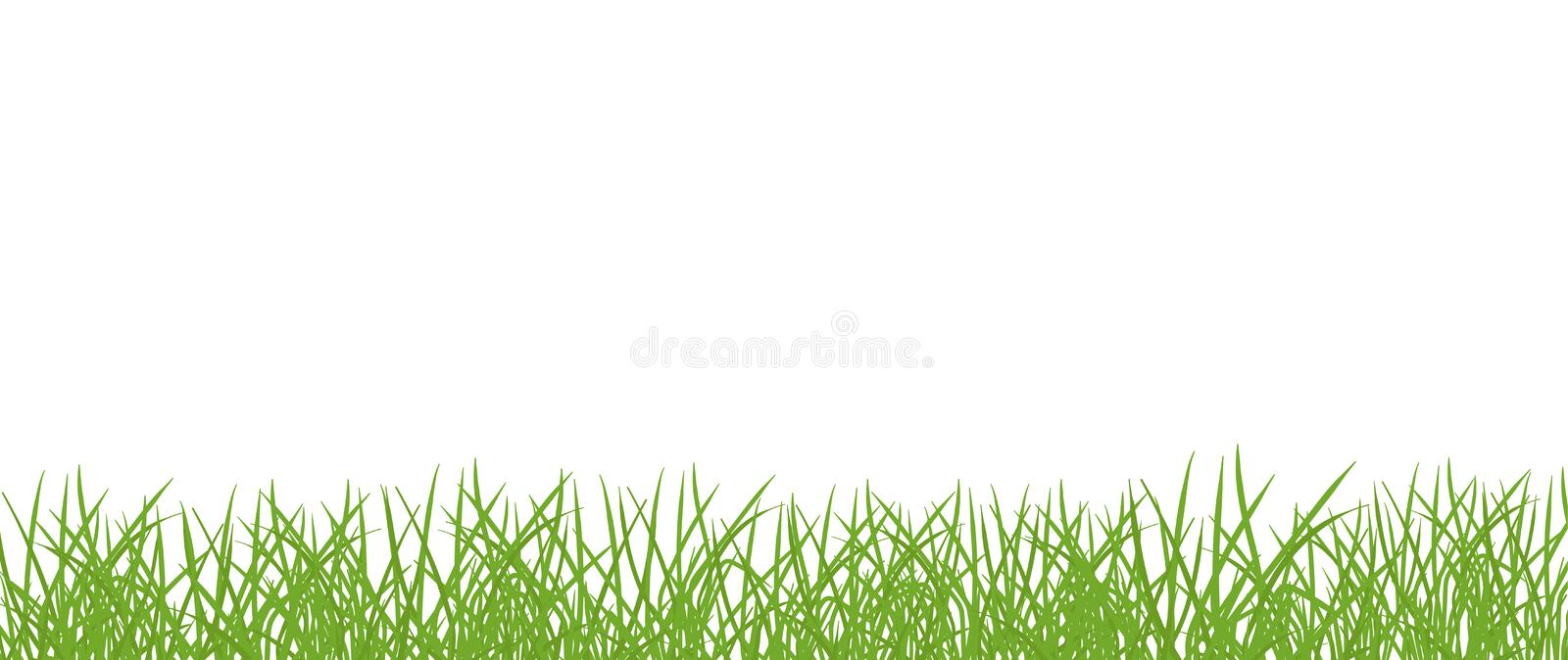 Green grass lawn banner. Border frame isolated transparent background. Vector flat Illustration on white background stock illustration