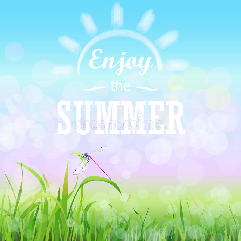 Green grass lawn with bokeh blue sky. Enjoy summer text on the Floral nature summer spring background. stock illustration