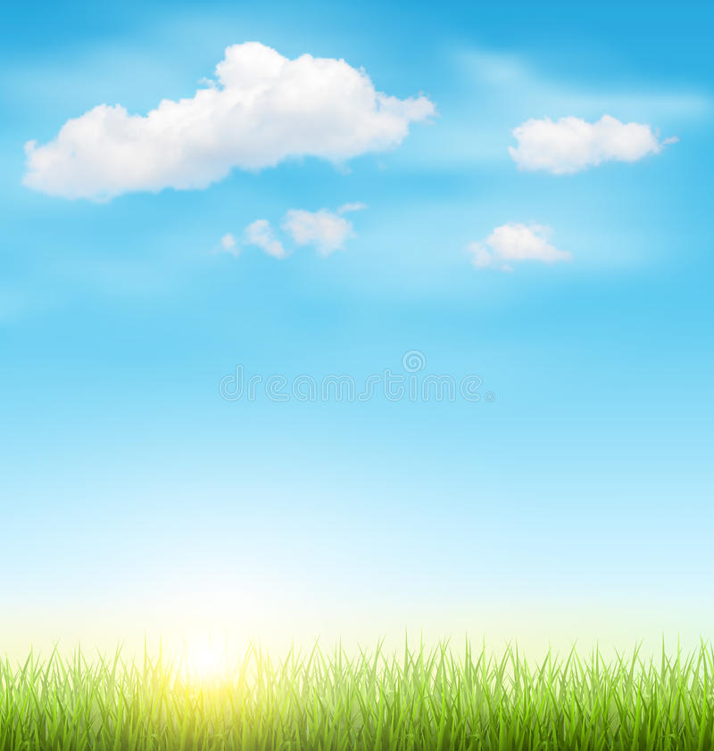 Green Grass Lawn with Clouds and Sun on Blue Sky royalty free illustration