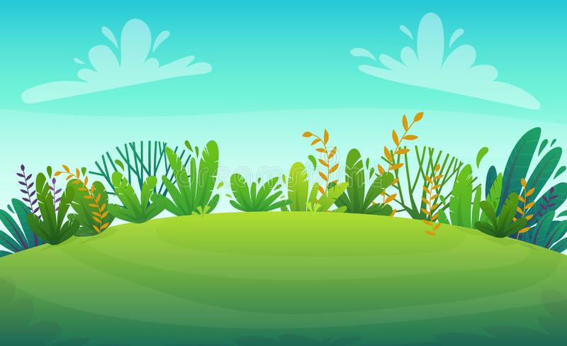 Green grass lawn river at park or forest trees and bushes flowers scenery background , nature lawn ecology peace vector illust. Green river grass barbeque grill royalty free illustration