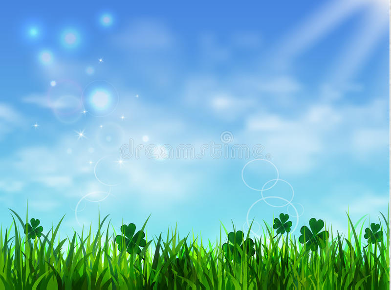 Green grass lawn with sunrise on blue sky vector illustration
