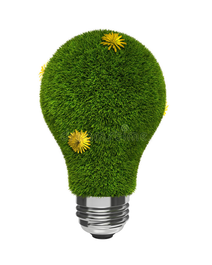 Download Green Grass Light Bulb With Yellow Flowers Stock Illustration - Image: 9545899