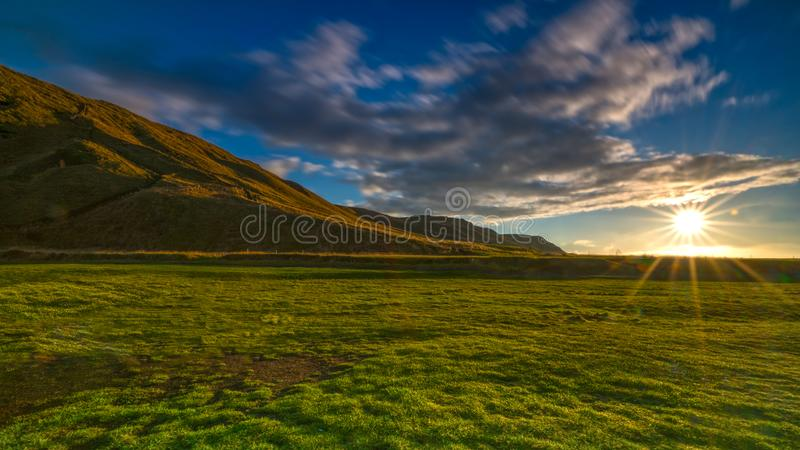Green grass meadow in iceland with early morning sun shining royalty free stock photos