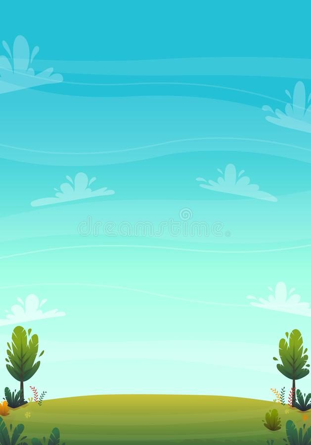 Green grass meadow at park or forest trees and bushes flowers scenery background , nature lawn ecology peace vector illustration o. F forest nature happy funny royalty free illustration