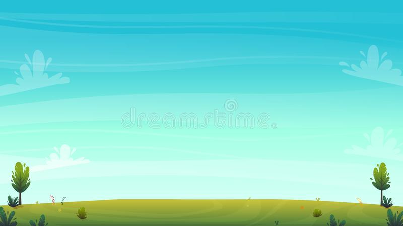Green grass meadow at park or forest trees and bushes flowers scenery background , nature lawn ecology peace vector illustration o. F forest nature happy funny stock illustration