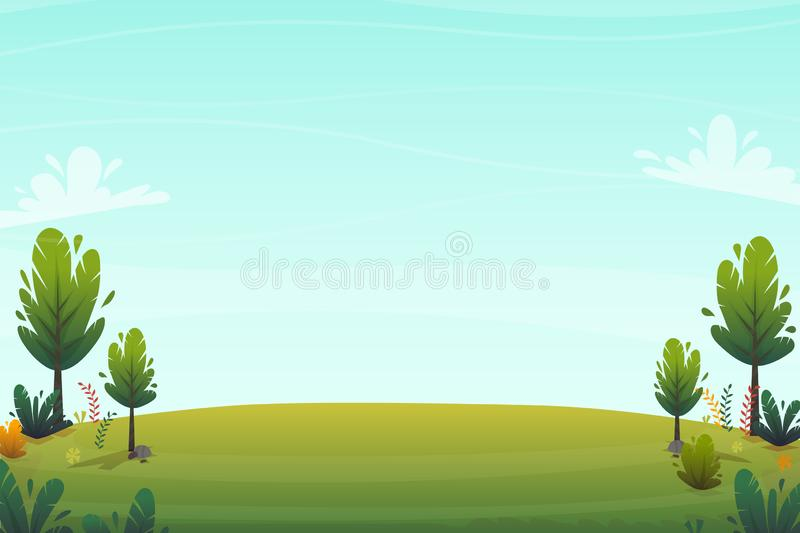 Green grass meadow at park or forest trees and bushes flowers scenery background , nature lawn ecology peace vector illustration o. F forest nature happy funny vector illustration