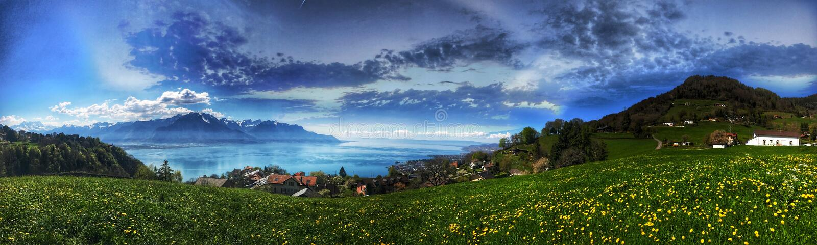 Green Grass With Mountain royalty free stock photography