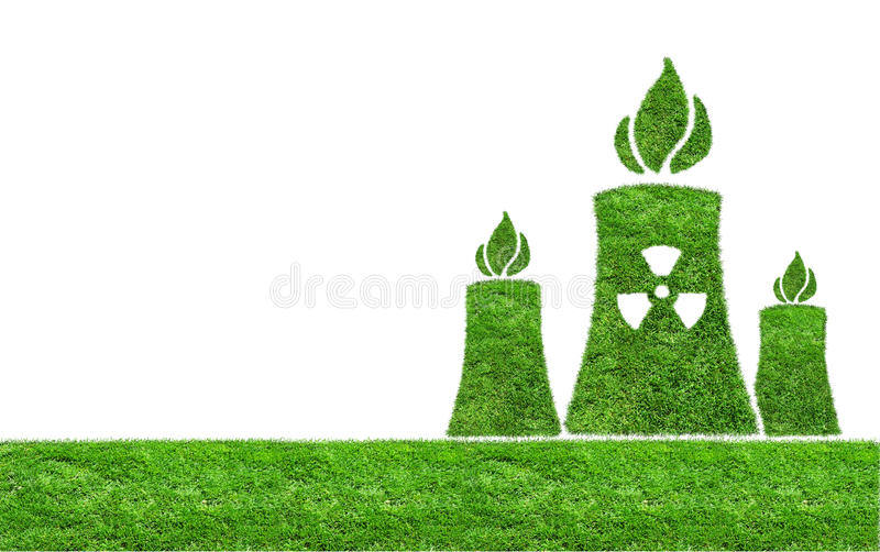 Green grass Nuclear power plant icon. Green nuclear power plant icon on meadow isolated on white. Green grass Nuclear power plant icon isolated on white. The stock photos