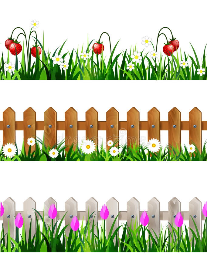 Green Grass seamless set royalty free illustration