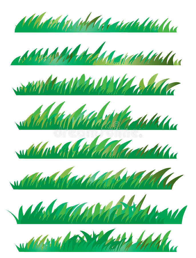 Green Grass Set, On White Background, Vector Illustration stock photos