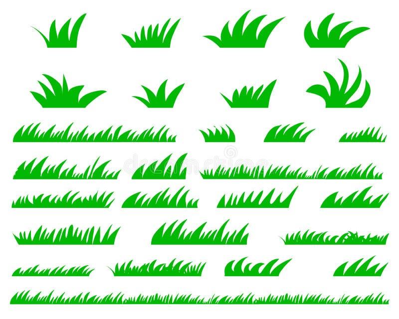 Green Grass Set, On White Background vector illustration