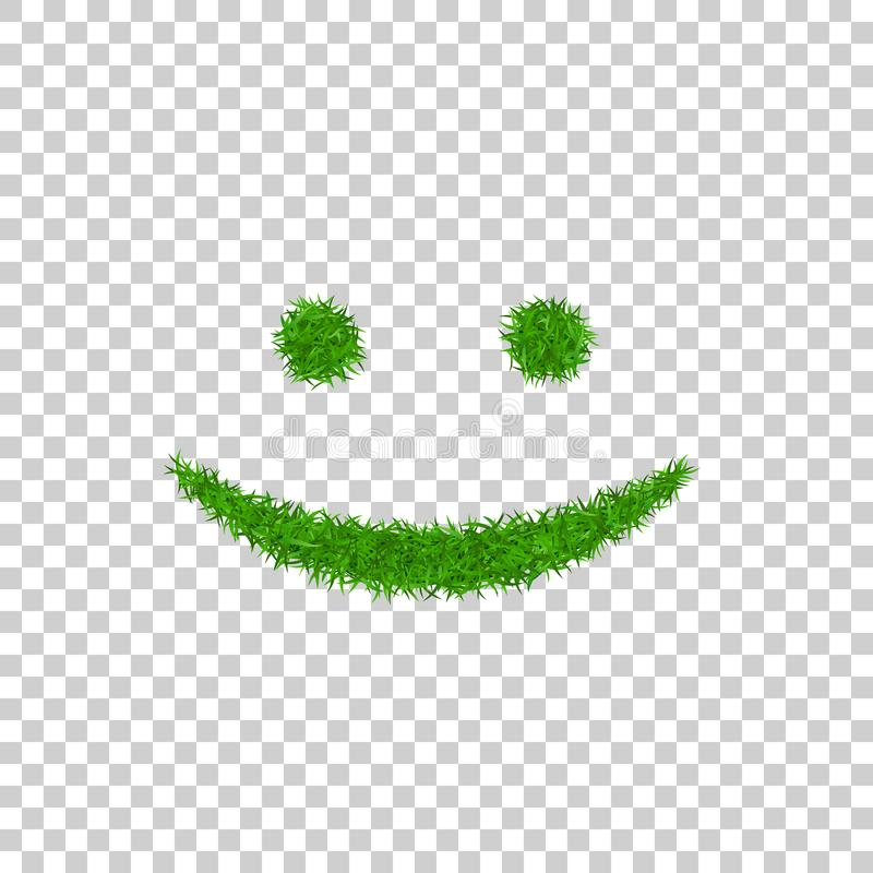 Green grass smile 3D. Smiley grassy icon Isolated white transparent background. Ecology concept. Happy smiling sign. Symbol eco lawn, nature, safe environment royalty free illustration