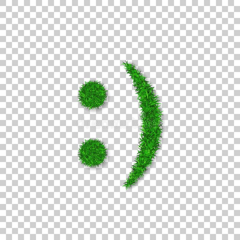 Green grass smile 3D. Smiley grassy icon white transparent background. Ecology concept. Happy smiling sign. Symbol eco lawn, nature, safe environment, healthy stock illustration