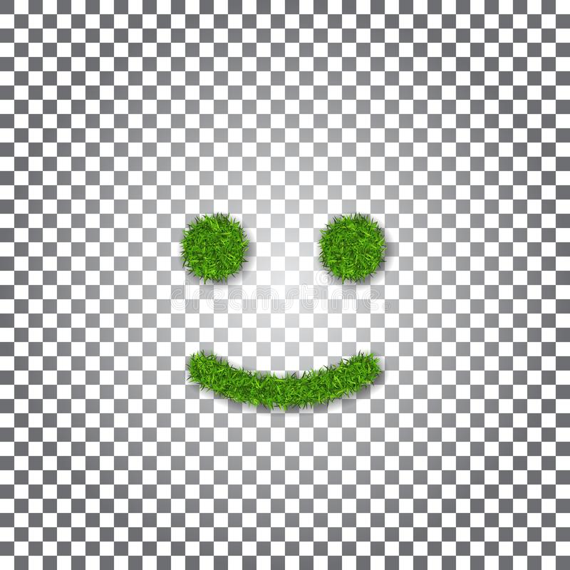 Green grass smile 3D. Smiley grassy icon white transparent background. Ecology concept. Happy smiling sign. Symbol eco lawn, nature, safe environment, healthy royalty free illustration