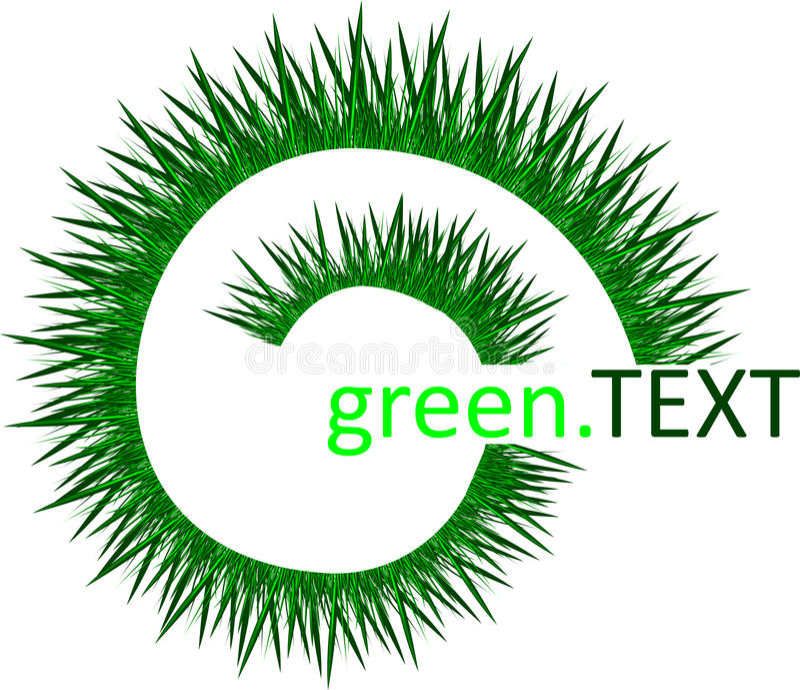 Green Grass Spiral Against A White Background.