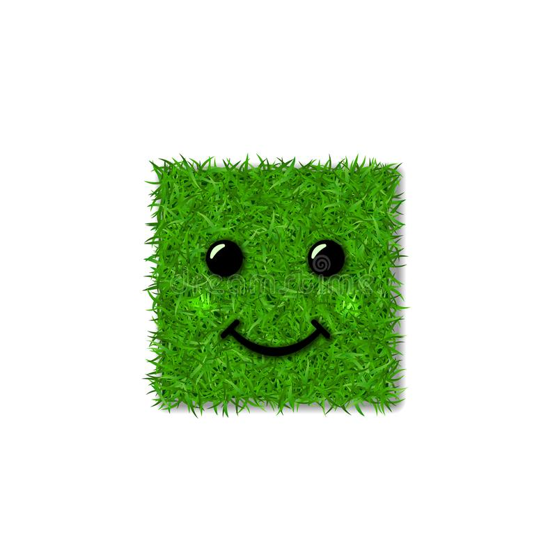 Green grass square field 3D. Face smile. Smiley grassy icon, isolated white background. Ecology concept. Smiling sign royalty free illustration