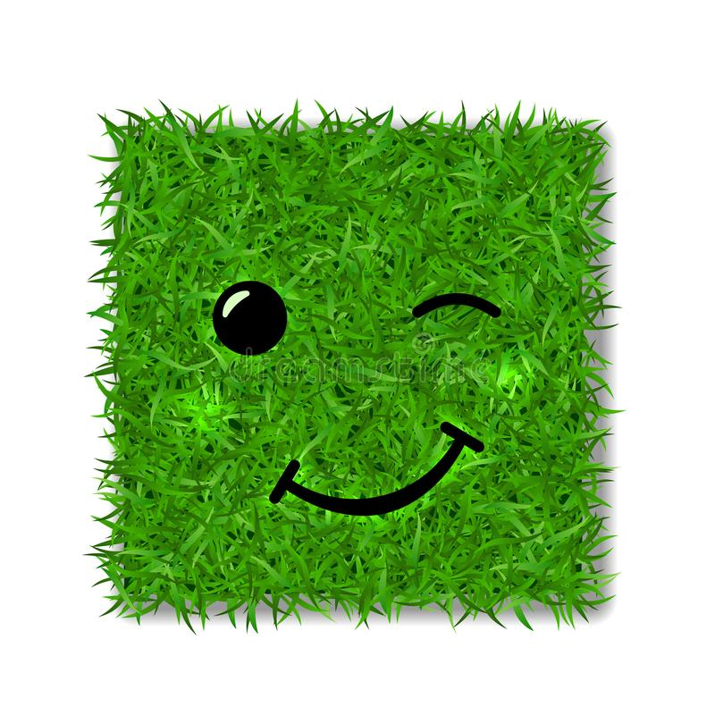 Green grass square field 3D. Face wink smile. Smiley grassy emoticon icon, isolated white background. Happy sign. Symbol royalty free illustration