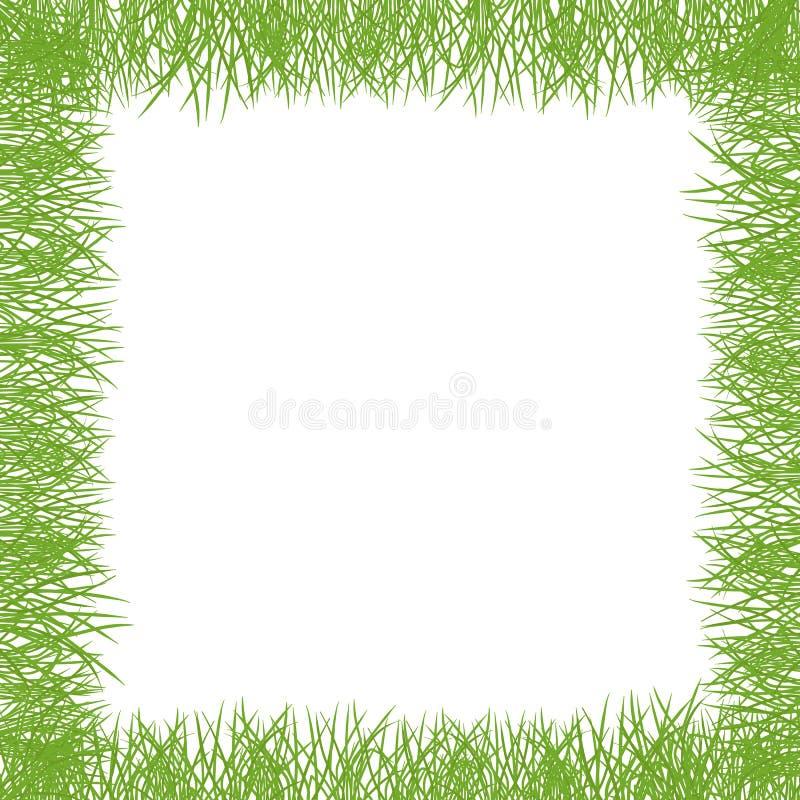 Green grass Square frame lawn banner. Border frame isolated transparent background. Vector flat Illustration on white stock illustration