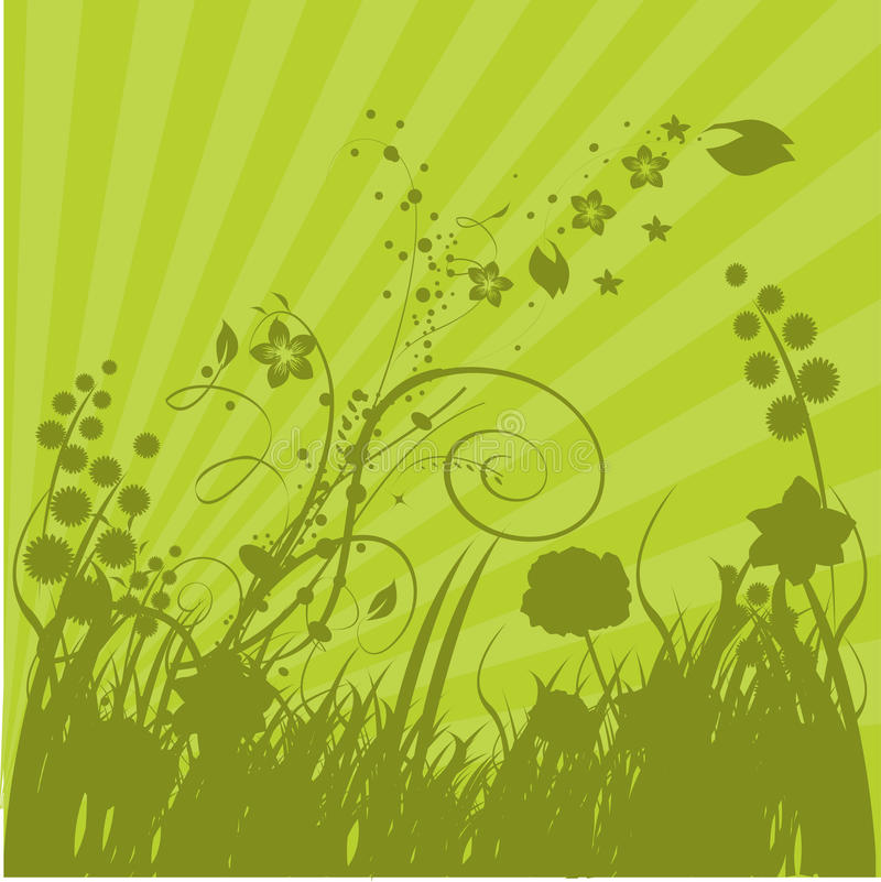 Download Green Grass and Sunbursts stock illustration. Image of stripes - 14365186