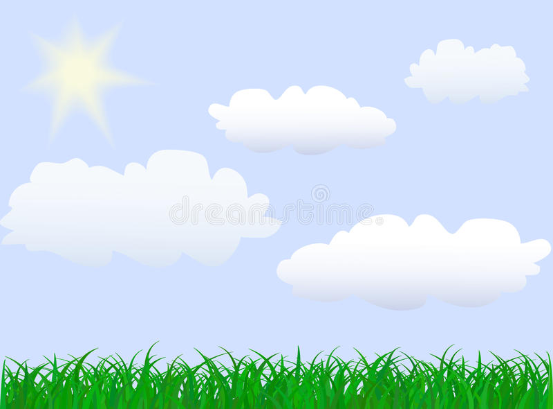 Green grass under blue sky vector illustration