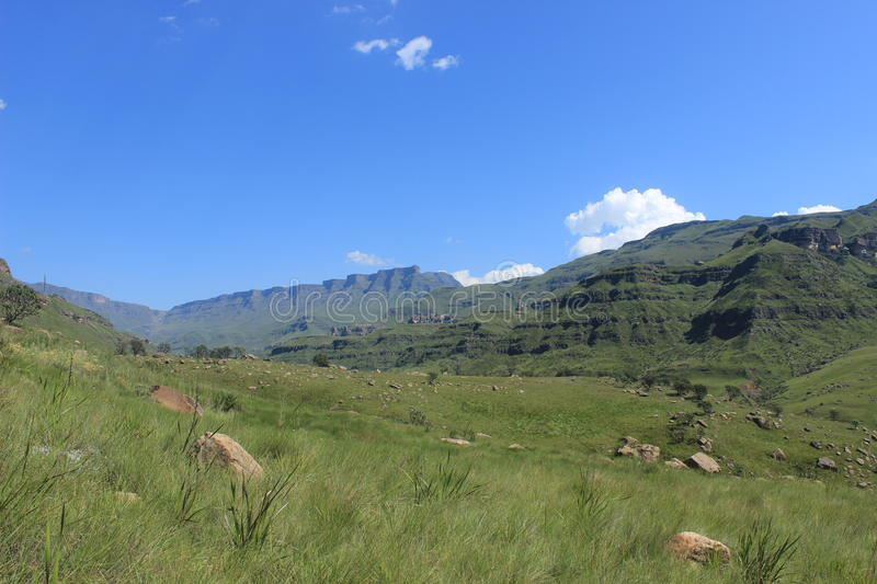Green grass valley, beautiful landscape, Sani pass, kwazulu-natal south africa african travel drakensberg nature lesotho royalty free stock image