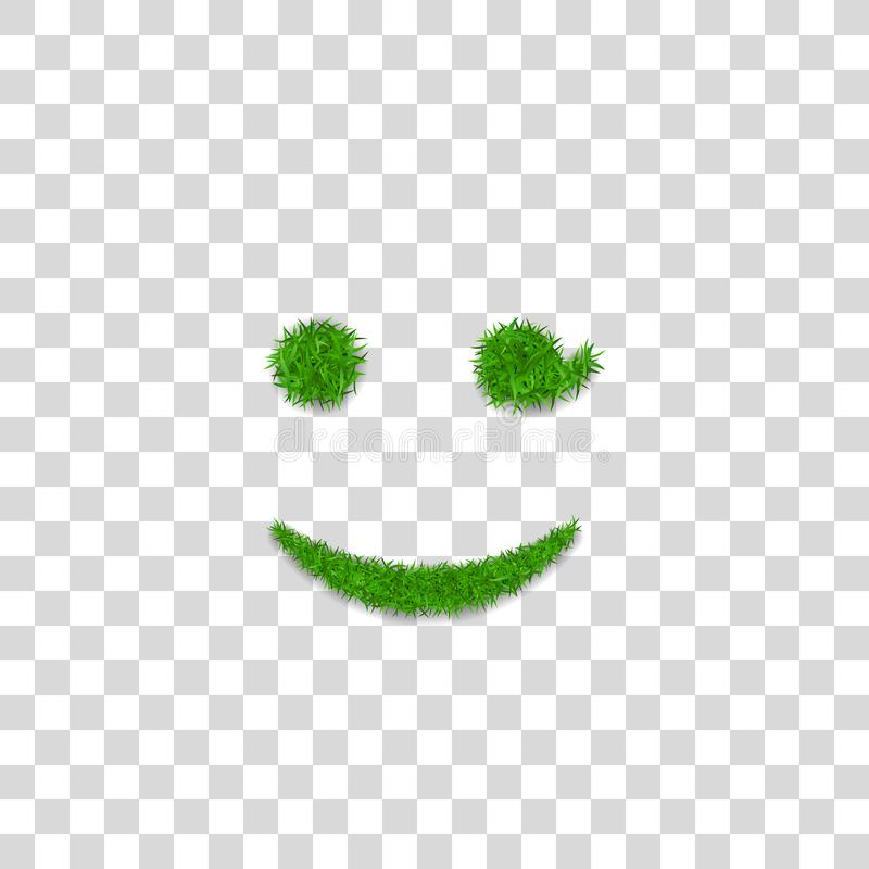 Green grass wink smile 3D. Smiley grassy emoticon icon Isolated white transparent background. Happy smiling sign. Symbol. Ecology, eco lawn, safe nature, happy vector illustration