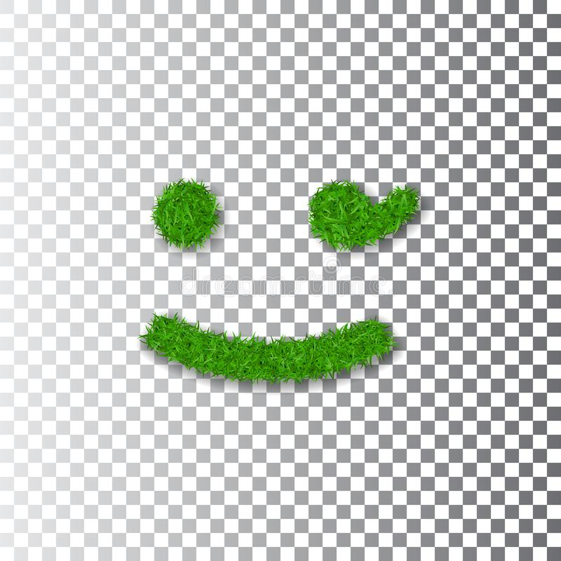 Green grass wink smile 3D. Smiley grassy emoticon icon white transparent background. Happy smiling sign. Symbol. Ecology, eco lawn, safe nature, happy emotion royalty free illustration