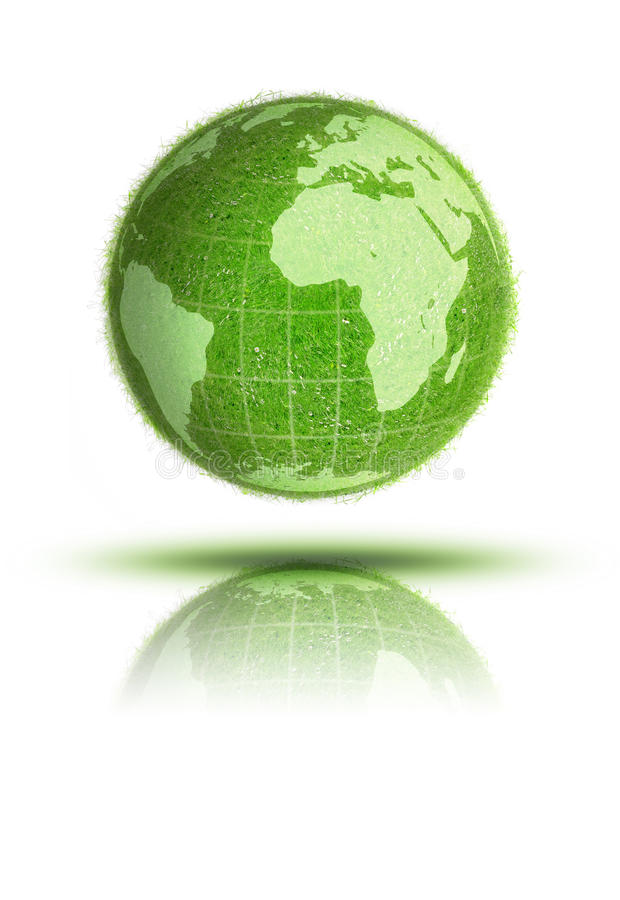 Green grass World globe royalty free stock images