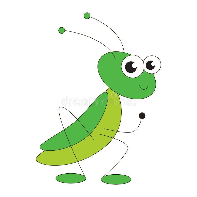 Green grasshopper cartoon. stock illustration