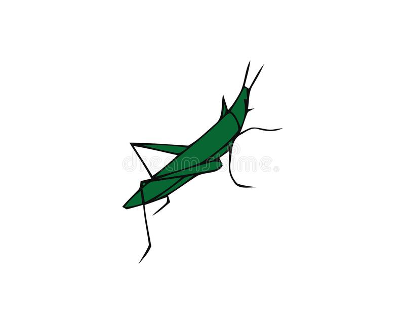 Green grasshopper isolated on a white background. Locusts. Pests of agriculture. Vector illustration royalty free illustration