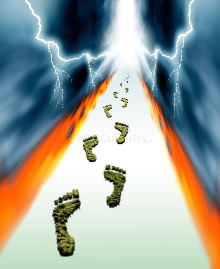 Green grassy footprints vector illustration