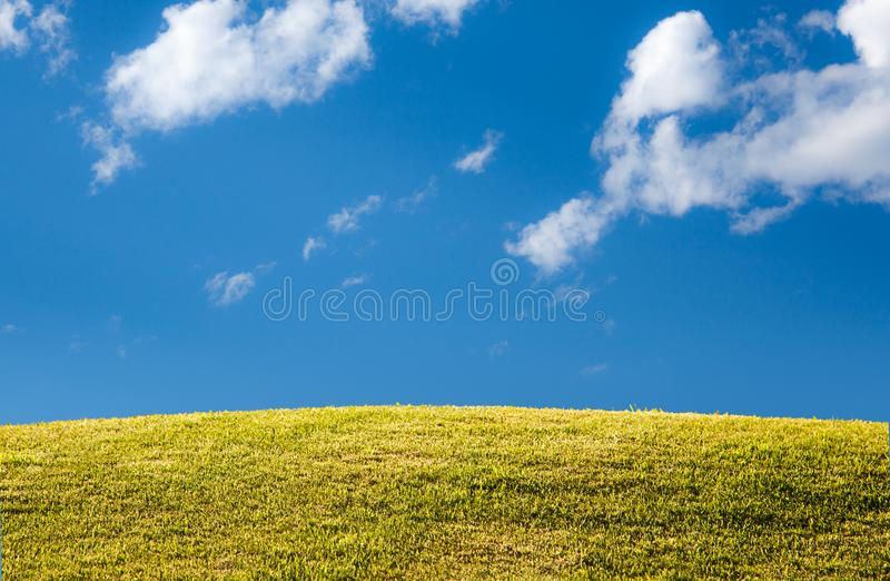 Green grassy lawn or meadow with blue sky and clouds royalty free stock photography