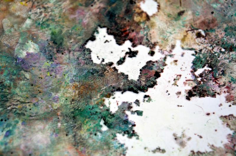 Green gray dark spots, painting watercolor background, painting abstract colors stock photo