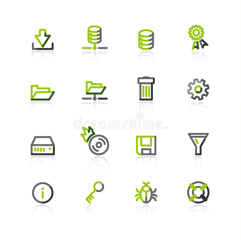 Free Green-gray Server Icons Stock Photography - 3816322