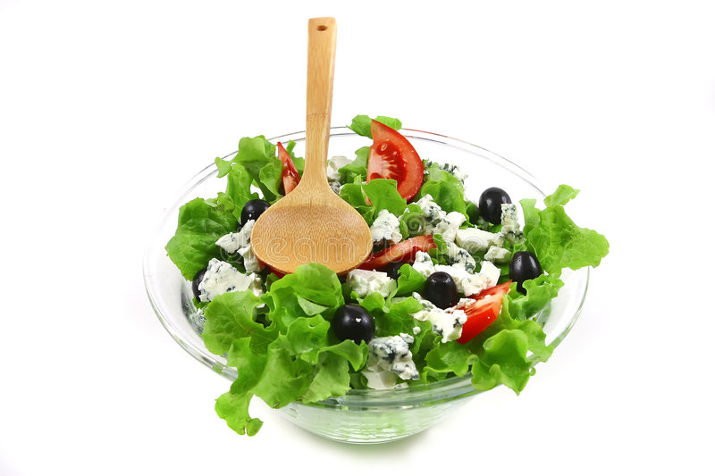 Green greek salad over white stock photo