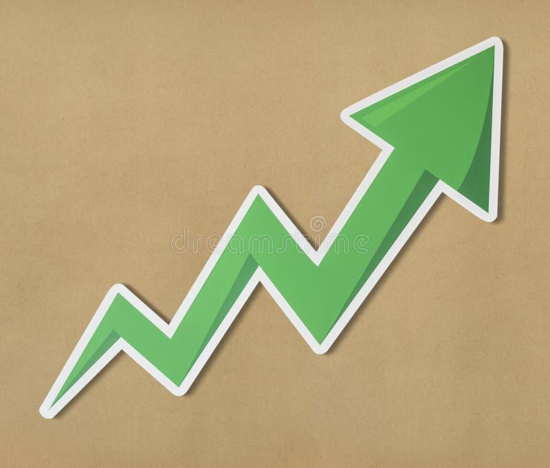 Green grow up arrow icon royalty free stock image