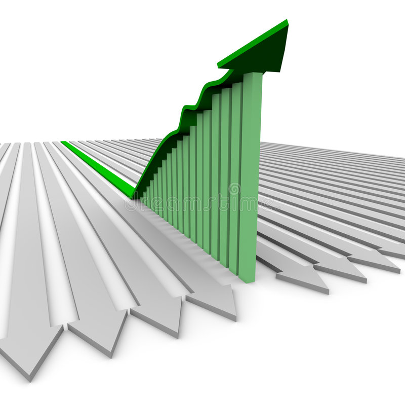 Green Growth Arrow - Bar Graph. A green growth arrow rises atop a bar graph showing significant increases royalty free illustration