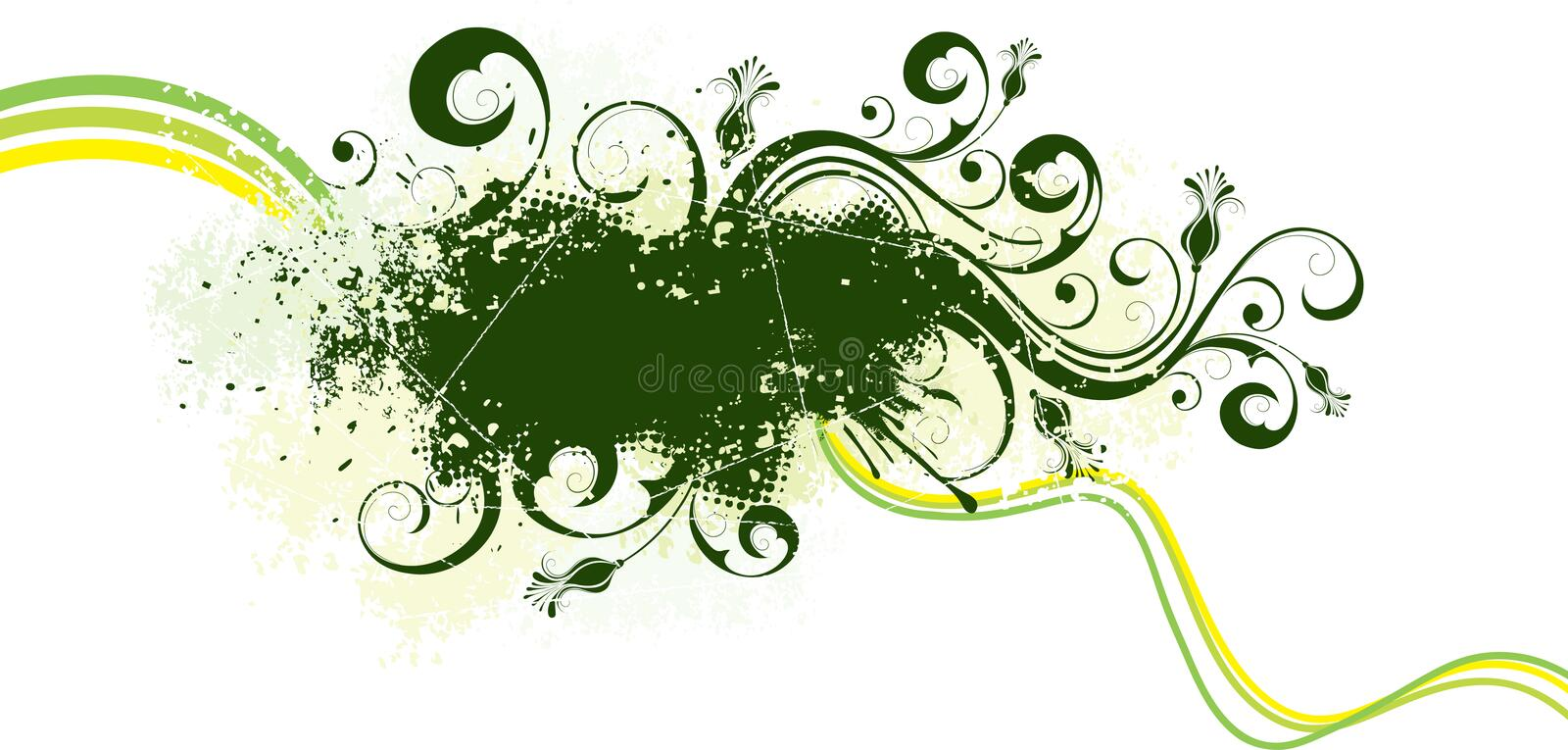 Green grunge artwork. A border or graphic element in green with flourishes stock illustration