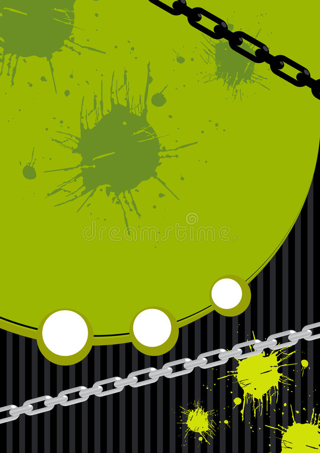 Green grunge background. A green and black grunge background with chainlink and spatters stock illustration