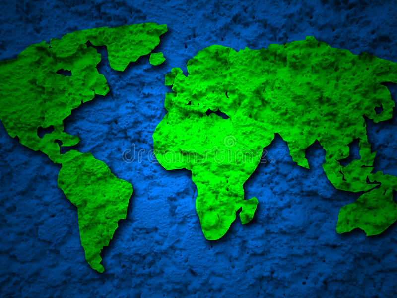 Green grunge earth map on a blue 1. Green grunge earth map on a blue background 1 royalty free stock image