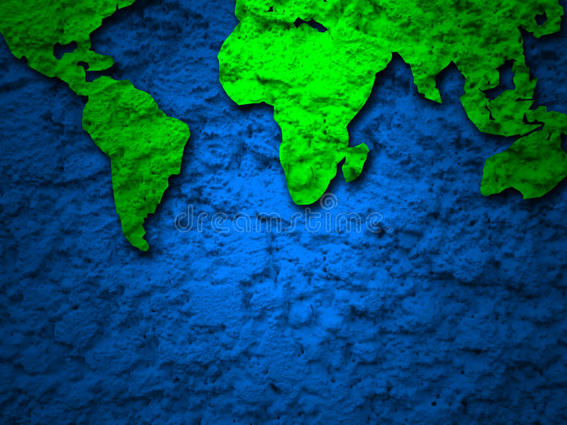 Green grunge earth map on a blue 2. Green grunge earth map on a blue background 2 stock images
